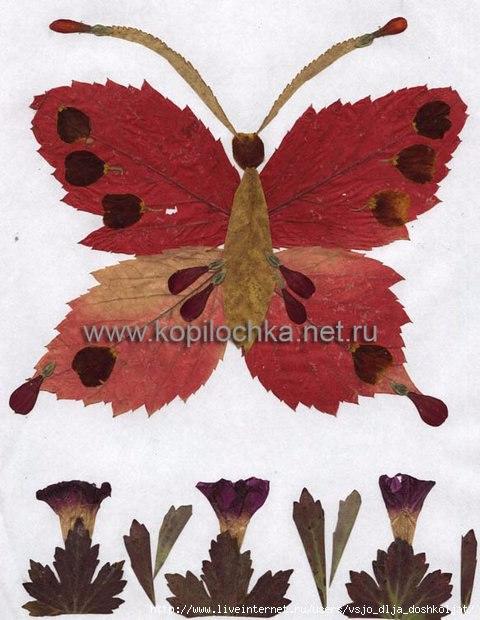 Бабочка из листьев своими руками