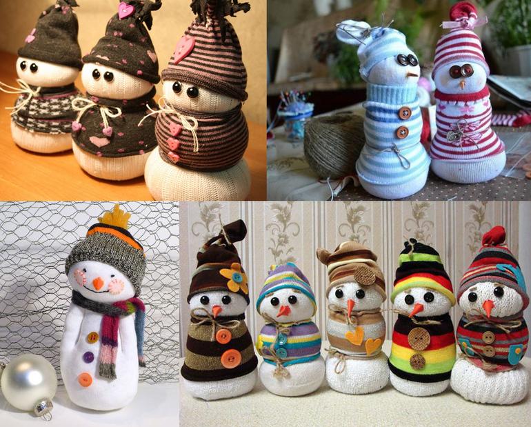 Снеговик из носков на новый год