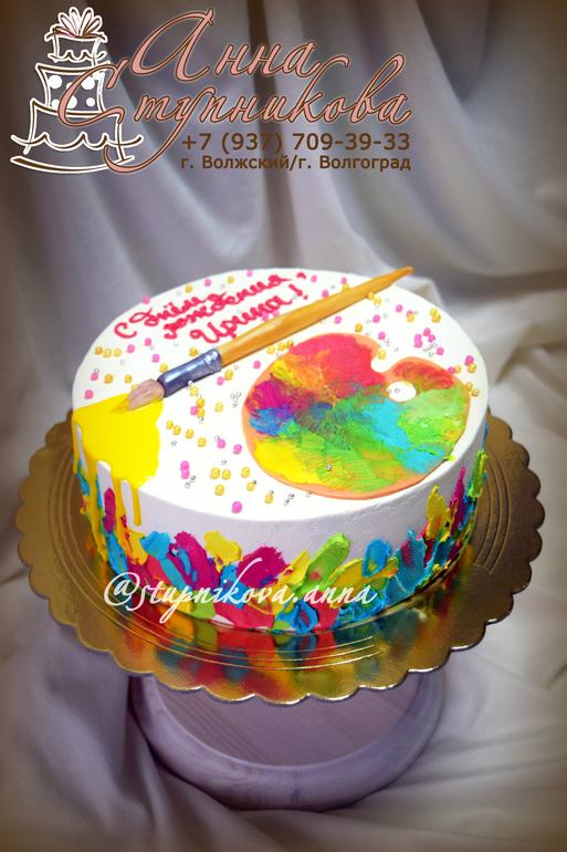 Торт рисованный кремом