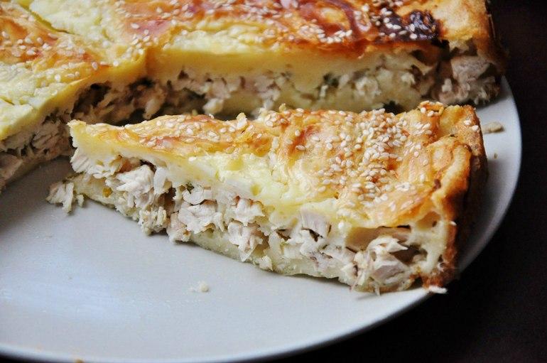 Пирог с куриной грудкой в духовке рецепт