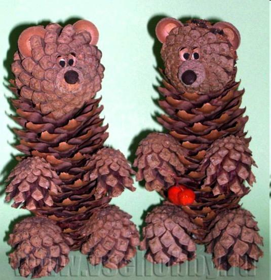 Поделки своими руками осень для детского сада из шишек