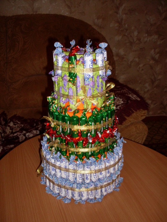 Тортик  из  конфеток