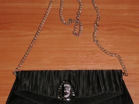 Черный женский клатч на металлической цепочке
