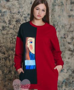 Платье П 735 (черный + красный)