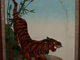 Декоративная картина панно Тигр из шерсти 30х40 см