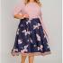Платье с широкой юбкой, верх однотон, принт журавли