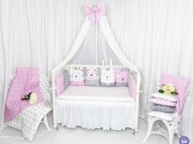 """Комплект в кроватку """"Зверята"""" серо-розовая гамма"""