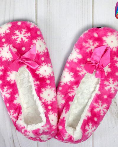 Тапочки женские со снежинками и бантом