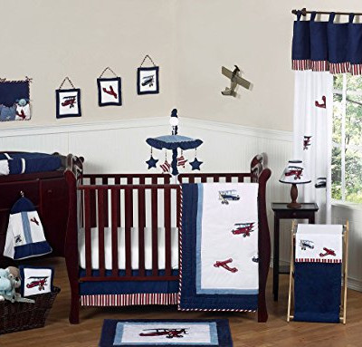 Aviator Airplane Plane Baby Boy Bedding 11 pc Crib Set