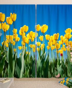 Фотошторы Поле желтых тюльпанов Габардин