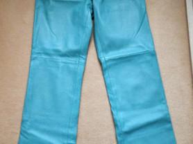 Голубые штаны Bebe из натуральной кожи  на подклад