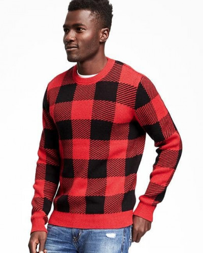 Checkered Crew-Neck Sweater for Men