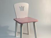 Детский розовый стул со спинкой корона.