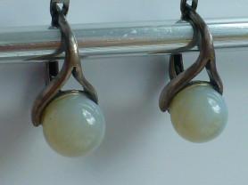серьги серебро 925* + белый дымчатый агат