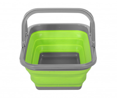 Корзина пластиковая складная с 2 ручками, зеленая