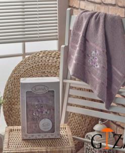 """Полотенце махровое в коробке """"KARNA"""" вышивкой SISLEY (50x90)"""
