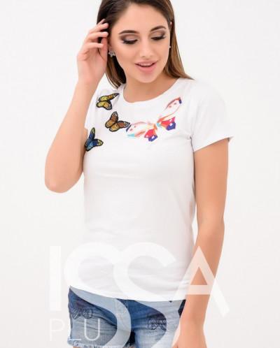 футболка с нашивками бабочек