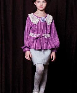 Блуза фиолетовая в горошек с винтажным кружевным воротничком