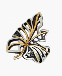 Кольцо Осень серебро с позолотой и нанокерамикой Юмила