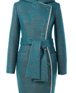 02-1486 Пальто женское утепленное (пояс) Букле/Искусственный