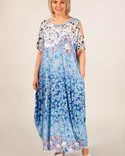 Платье Алиса синий/белый