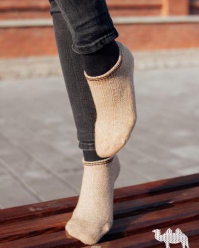 Носки спортивные из шерсти бежевый, Монголия