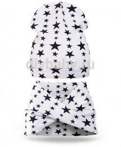 Комплект шапка и шарф хомут трикотаж звезда белый тонкая