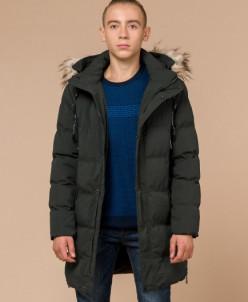Молодежная темно-зеленая куртка качественного пошива модель