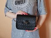 Новая черная кожаная сумочка кроссбоди Италия