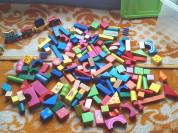 деревянные кубики фирмы Папо карло 160 штук