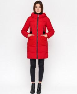 Красная женская куртка яркая модель 8180