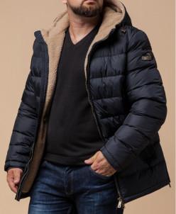 Трендовая темно-синяя куртка на меху модель 35285