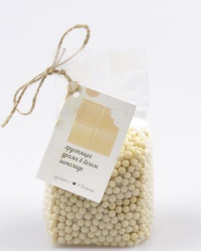 Белый шоколад хрустящий внутри в форме жемчужин, 200 г