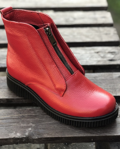 Ботинки из натуральной красной кожи №379-12 (астра 13 черн19