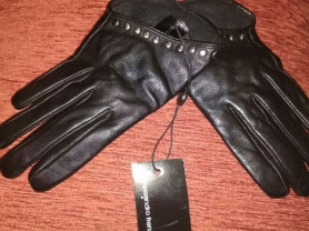 Короткие перчатки, кожа!