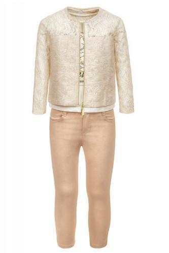 Комплект для девочки (брюки,кофточка и жакет с гипюром)