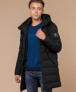 Куртка с вшитым капюшоном черная молодежная модель 25240