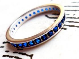 Кольцо с сапфировым кварцем, серебро 925 размер 17