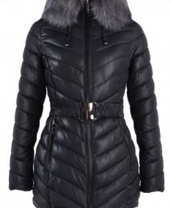 5-0671 Куртка зимняя (Синтепух 350) пояс Плащевка Черный