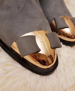 Ботинки женские вязанный верх - серо/бежевые