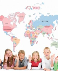 """Наклейка многоразовая """"Карта мира"""""""