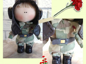 Текстильная кукла Танкист