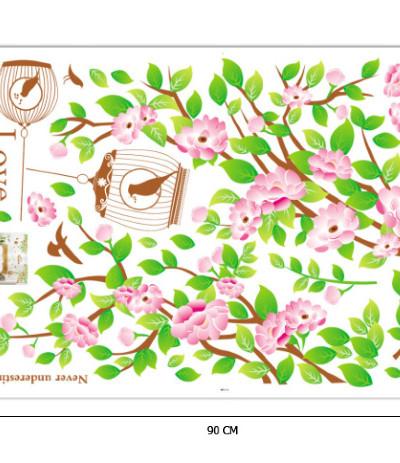 Наклейка многоразовая интерьерная «Весеннее дерево с птичкой