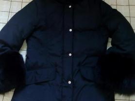 Куртка пуховик с натуральным мехом песца р.48