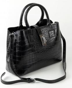 Женская кожаная сумка 1727 Крок Черный