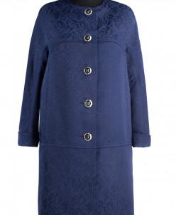 12-0010 Пальто летнее Жаккард Темно-синий