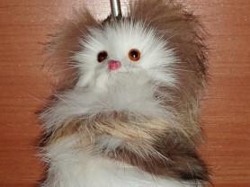 Подвеска котенок натуральный мех 10 см