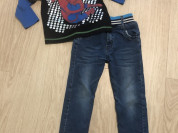 Утепленные джинсы и лонгслив