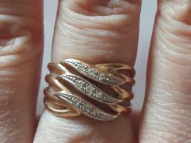 Золотое кольцо 585 пробы, размер 16 вставка циркон
