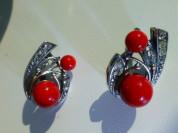 серьги серебро+нат.кораллы